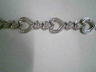 Silver-Diamond Bracelet 20 Diamonds .20 Carat T.W. 925 Silver 10.89g