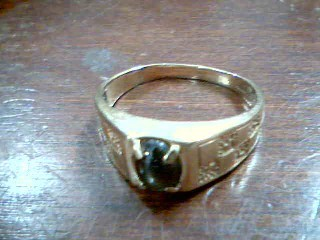 Synthetic Agate Gent's Stone Ring 10K Yellow Gold 3.89g