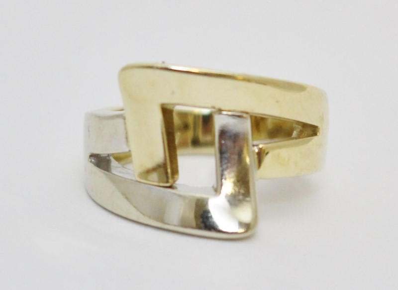 14K Two-Tone Yellow & White Gold Funky Split Shank Slanted Square Ring Size 5.25