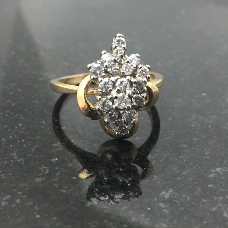 Lady's Diamond Cluster Ring 18 Diamonds .36 Carat T.W. 14K Yellow Gold 3.4dwt