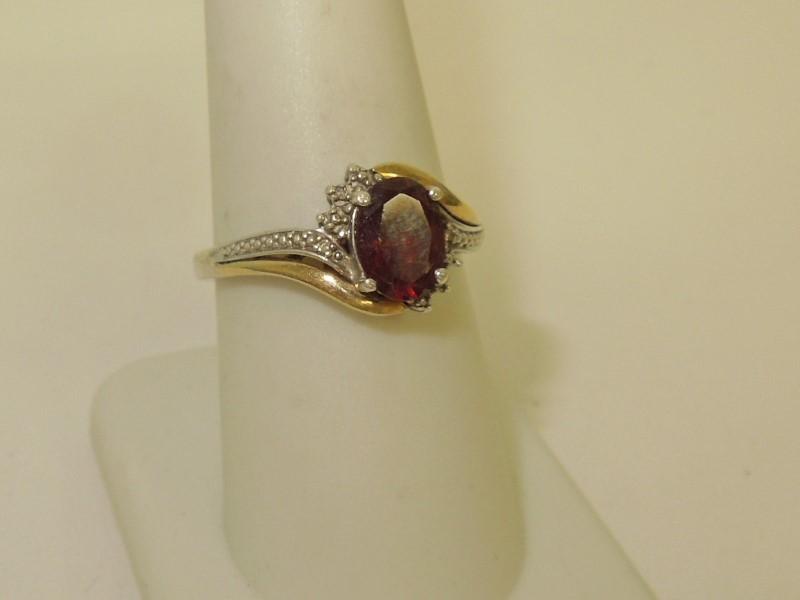 Synthetic Almandite Garnet Lady's Silver & Stone Ring 925 Silver 2.5g