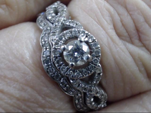 VINTAGE DIAMOND INFINITY WAVE WED SET RING 14K WHITE GOLD SIZE 5.75