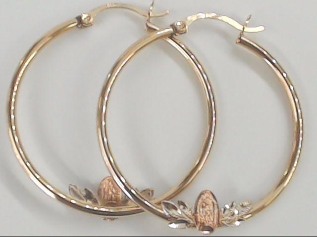 "VIRGIN MARY 1.5"" HOOP EARRINGS SOLID REAL 14K GOLD CATHOLIC RELIGION"
