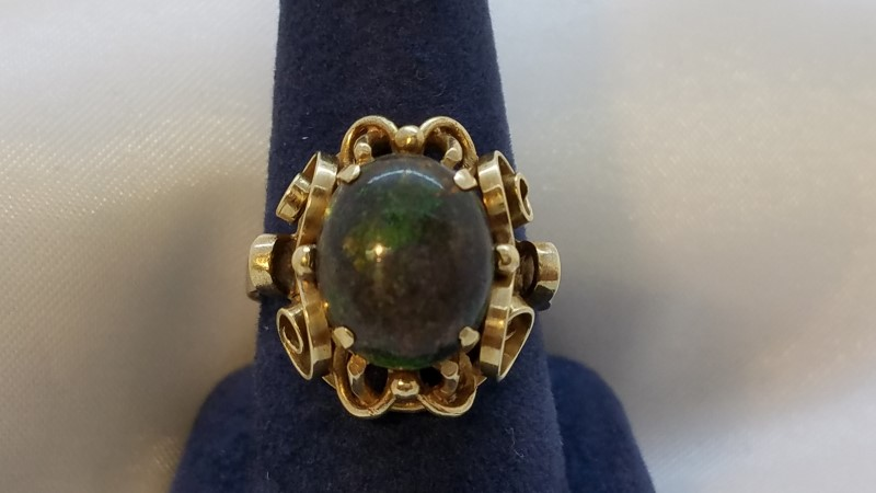 Opal Lady's Stone Ring 14K Yellow Gold 4.6g Size:7
