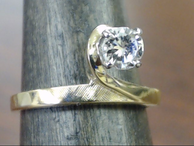VINTAGE NATURAL DIAMOND SOLITAIRE RING SOLID 14K GOLD ENGAGE SIZE 5