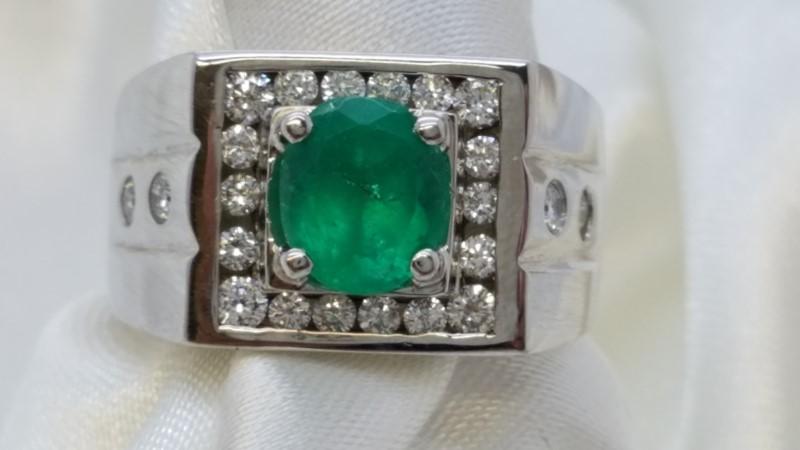 Emerald Gent's Stone & Diamond Ring 22 Diamonds .88 Carat T.W. 18K White Gold