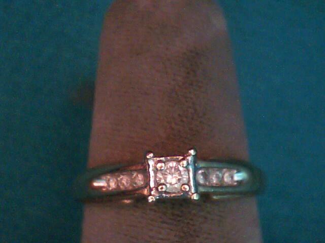 Lady's Diamond Engagement Ring 7 Diamonds .12 Carat T.W. 10K Yellow Gold 1.6dwt