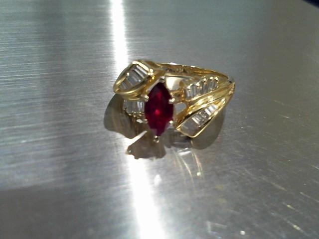 Synthetic Ruby Lady's Stone & Diamond Ring 20 Diamonds .40 Carat T.W.