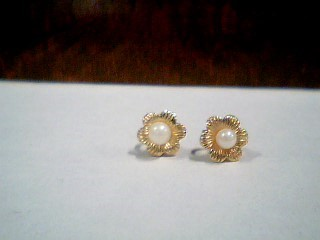 Synthetic Pearl Gold-Stone Earrings 14K Yellow Gold 0.6g