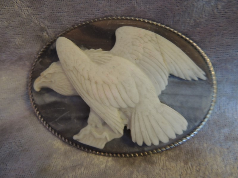 Blue with White High Relief Eagle Belt Buckle Genuine Incolay Stone