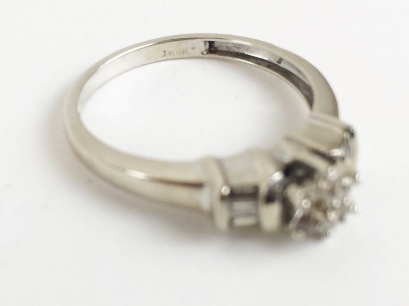 Diamond Ring 13 Diamonds .44 Carat T.W. 10K White Gold 2.27g