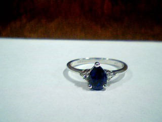 Synthetic Sapphire Lady's Stone Ring 10K White Gold 2g Size:7