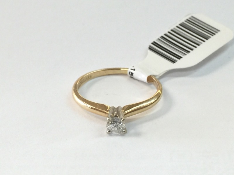 .15CT SOL. Lady's Diamond Solitaire Ring .15SOL .16 CT. 14K Yellow Gold 1dwt