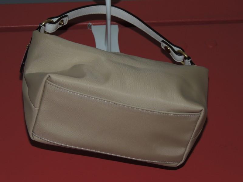 Coach Gold Satin Tan Leather Trim Baguette Hand Bag Purse