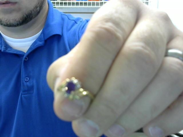 Purple Stone Lady's Stone Ring 10K Yellow Gold 2.18g