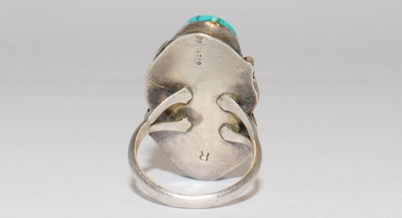 Women's Vintage Inspired Sterling Silver Leaf Swirl & Turquoise Ring SZ 6.75