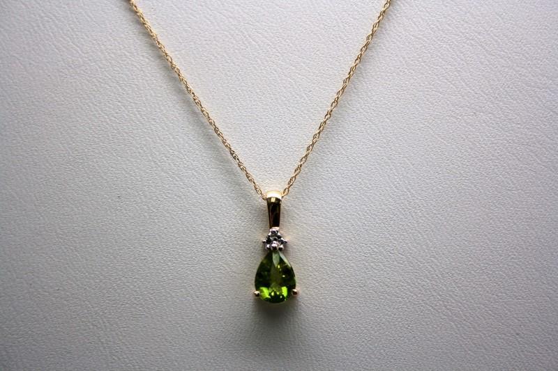 LADY'S PERIDOT & DIAMOND PENDANT 10K YELLOW GOLD