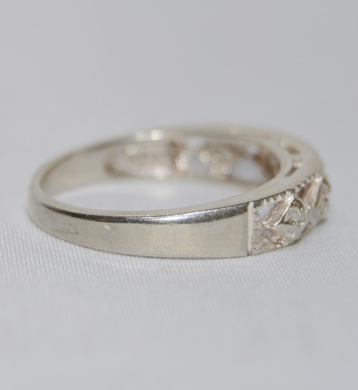 Sterling Silver Open Work Geometric Design Cubic Zirconia Band Ring sz 7.5