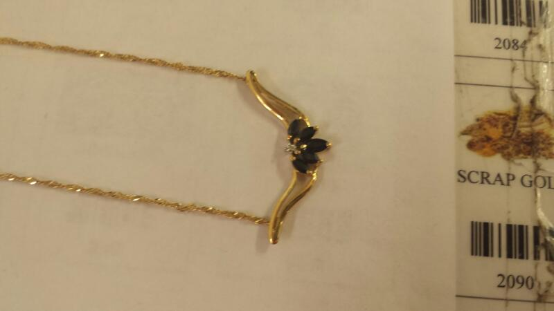 """10K-Y/G Diamond And Blue Stone Pendant On 18"""" Woven Rope Chain"""