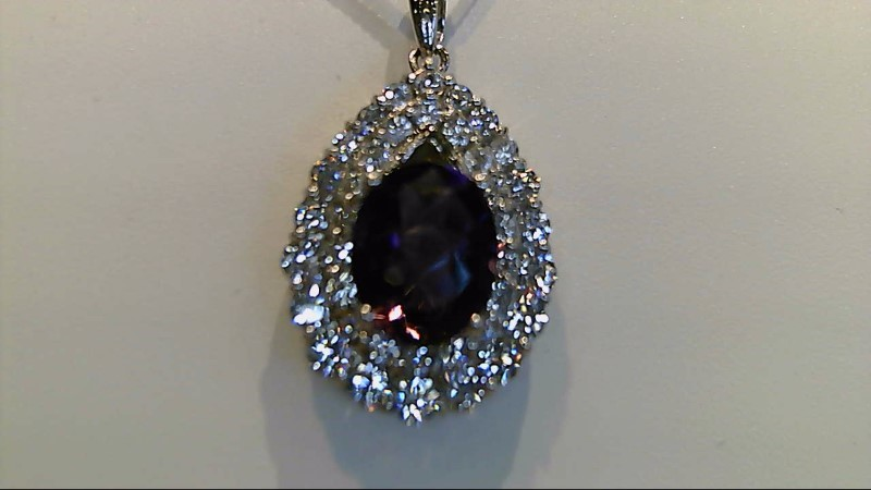 lADY'S 14K WHITE GOLD OVAL AMETHYST AND ROUND CUBIC ZIRCONIA PENDANT