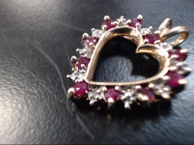 Synthetic Ruby Gold-Diamond & Stone Pendant 8 Diamonds .08 Carat T.W.