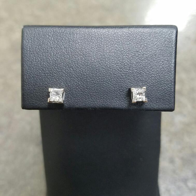 Gold-Diamond Earrings 2 Diamonds .50 Carat T.W. 14K White Gold 0.68dwt