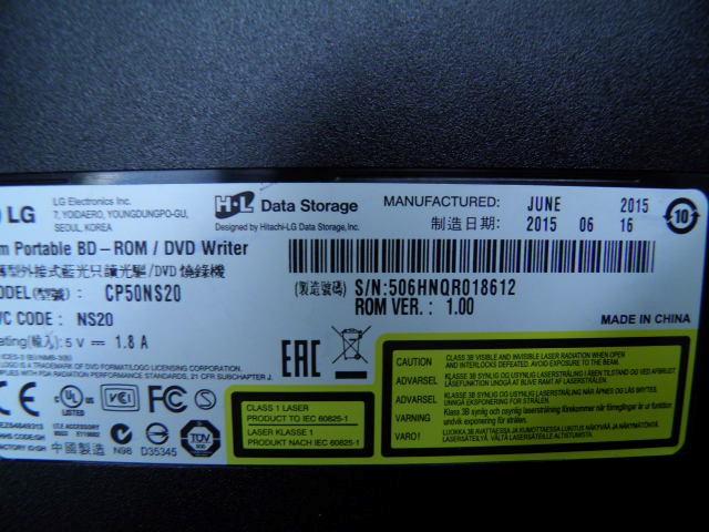 LG Portable BD-ROM/DVD WRITER CP50NS20