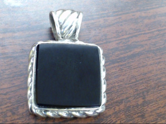 Synthetic Onyx Silver-Stone Pendant 925 Silver 10g