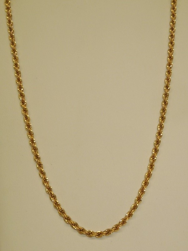 """18"""" Gold Rope Chain 14K Yellow Gold 9.7g"""