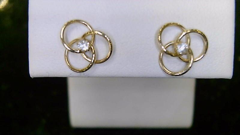 Lady's 14k yellow gold cz triple circle earrings