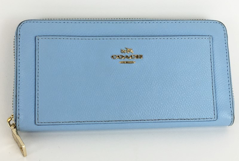 COACH LEATHER ACCORDION ZIP WALLET F52648