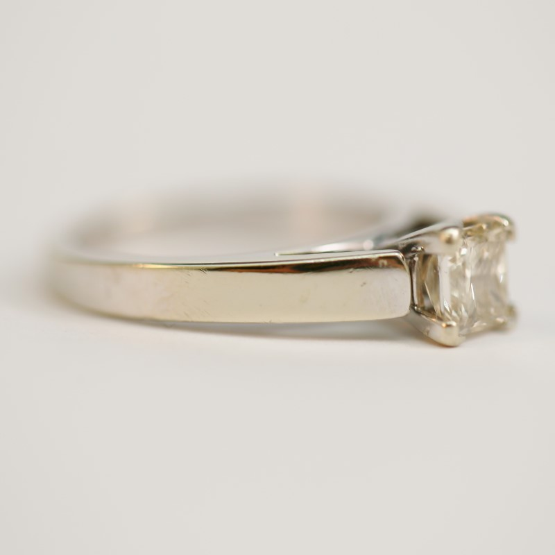 14K White Gold Princess Cut Diamond Solitaire Ring Size 5.3