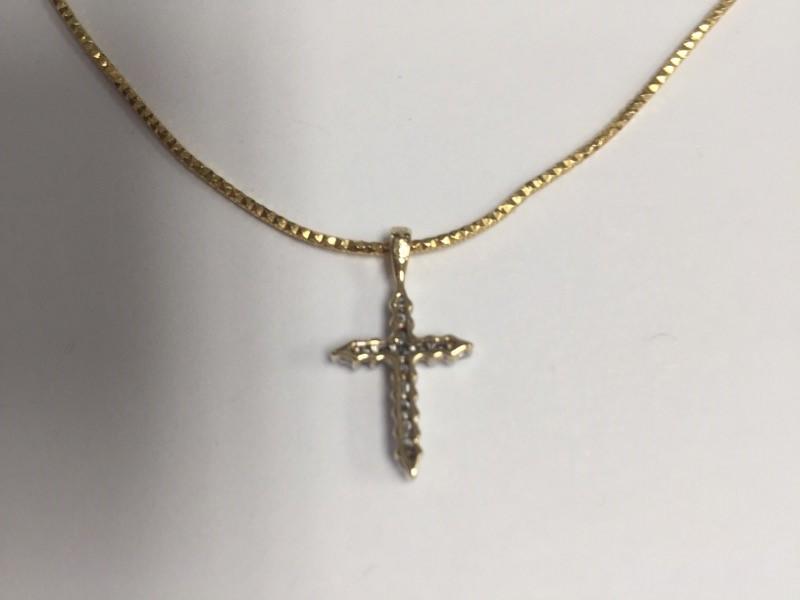 "Gold-Multi-Diamond Cross Pendant 16 Diamonds .32 Carat T.W. 14KYG & 14"" CHAIN"