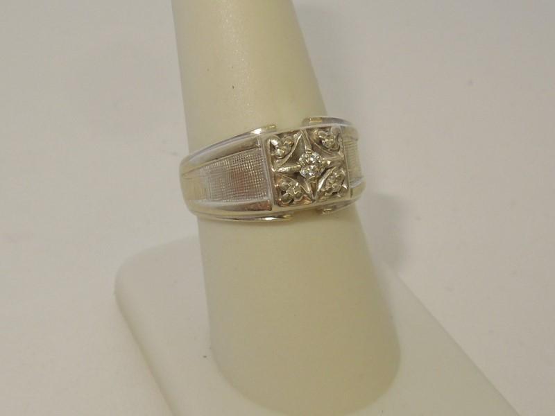 Gent's Diamond Cluster Ring 5 Diamonds .11 Carat T.W. 14K White Gold 6.3g