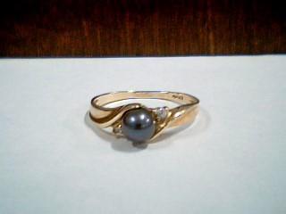 Synthetic Pearl Strand Lady's Stone & Diamond Ring 2 Diamonds .02 Carat T.W.
