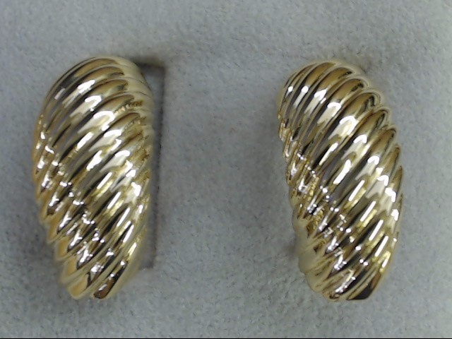 VINTAGE RIBBED HALF HOOP EARRINGS SOLID REAL 14K YELLOW GOLD 14.9g