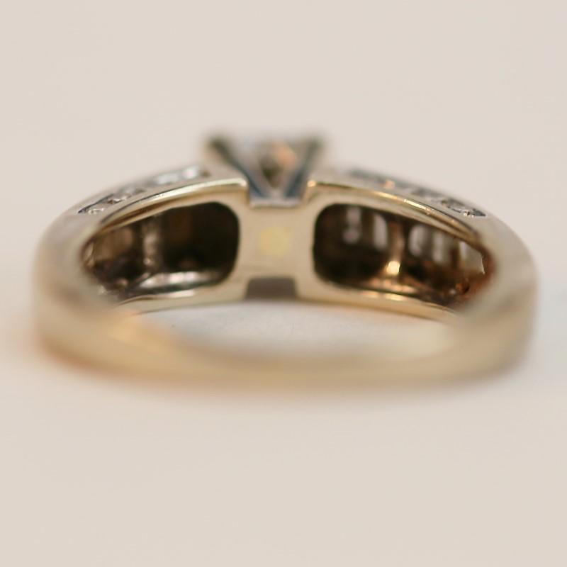 14K White Gold Princess and Baguette Cut Diamond Wedding Set Size 5.75