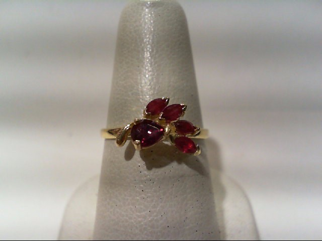 Ruby Lady's Stone Ring 14K Yellow Gold 2g