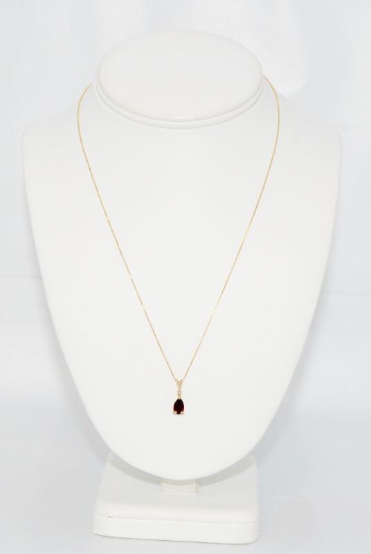"18"" 14K Yellow Gold Pear Shaped Garnet & Diamond Pendant Necklace"