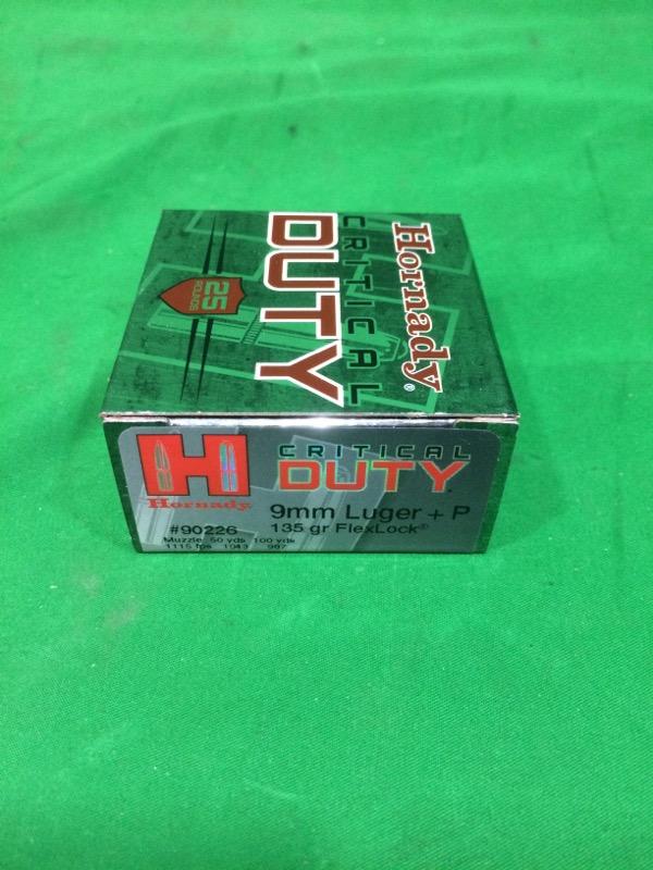 HORNADY CRITICAL DUTY 9MM LUGER + P 135 GR FLEXLOCK