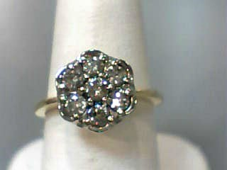 Lady's Diamond Cluster Ring 7 Diamonds .56 Carat T.W. 14K Yellow Gold 2.3dwt