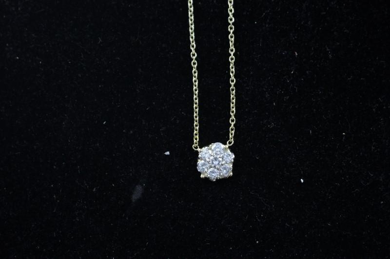Diamond Necklace 7 Diamonds 1.01 Carat T.W. 14K Yellow Gold 2.3dwt