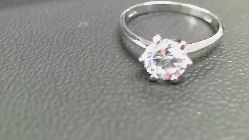 Synthetic Cubic Zirconia Lady's Silver & Stone Ring 925 Silver 1.9g