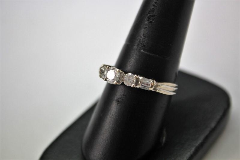 Lady's Diamond Engagement Ring 3 Diamonds .90 Carat T.W. 14K White Gold 4.8g