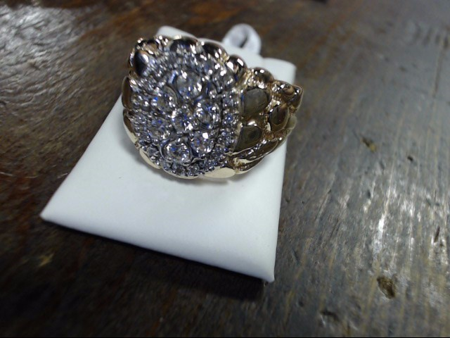 Gent's Diamond Cluster Ring 24 Diamonds 1.04 Carat T.W. 14K Yellow Gold 15.6g