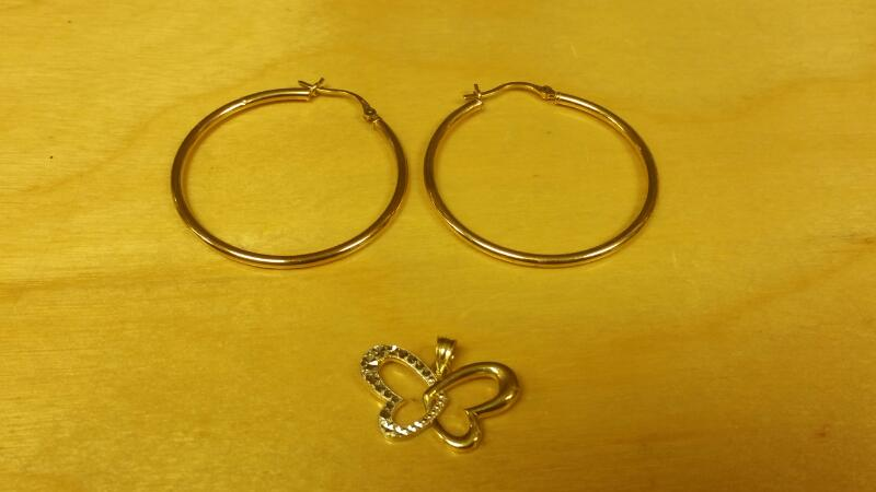 Gold Earrings 10K Yellow Gold 0.8dwt