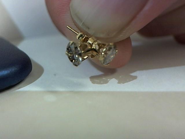 Gold-Diamond Earrings 2 Diamonds .80 Carat T.W. 14K Yellow Gold 0.5g