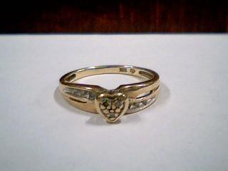 Lady's Diamond Cluster Ring 9 Diamonds .09 Carat T.W. 10K Yellow Gold 2.1g