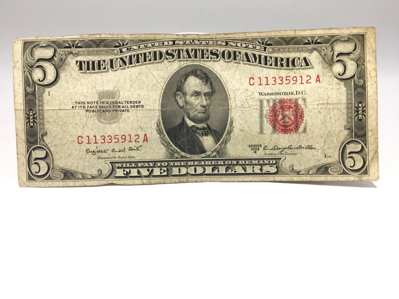 1953 B Red Seal $5 Paper Note
