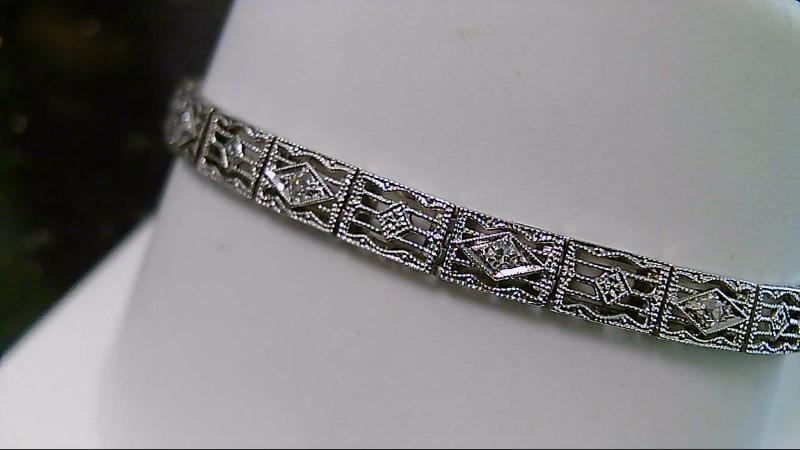 Gold-Diamond Bracelet 7 Diamonds .07 Carat T.W. 14K White Gold 7.2g